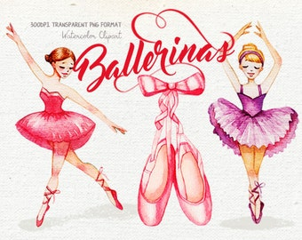 Ballerina clipart, Watercolor clipart, Ballet clipart, Girly Nursery prints, Dancing girls clipart, Cute illustration, Paper Dolls clipart