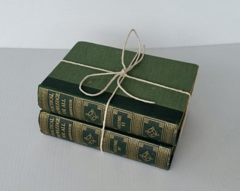 """Two gorgeous vintage reference books/ """"Practical knowledge for all""""/ green with gold trim"""