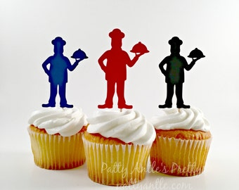 Chef Cupcake Toppers, Baking Party Topper, Chef Birthday Party Topper, Cooking Demonstration Topper