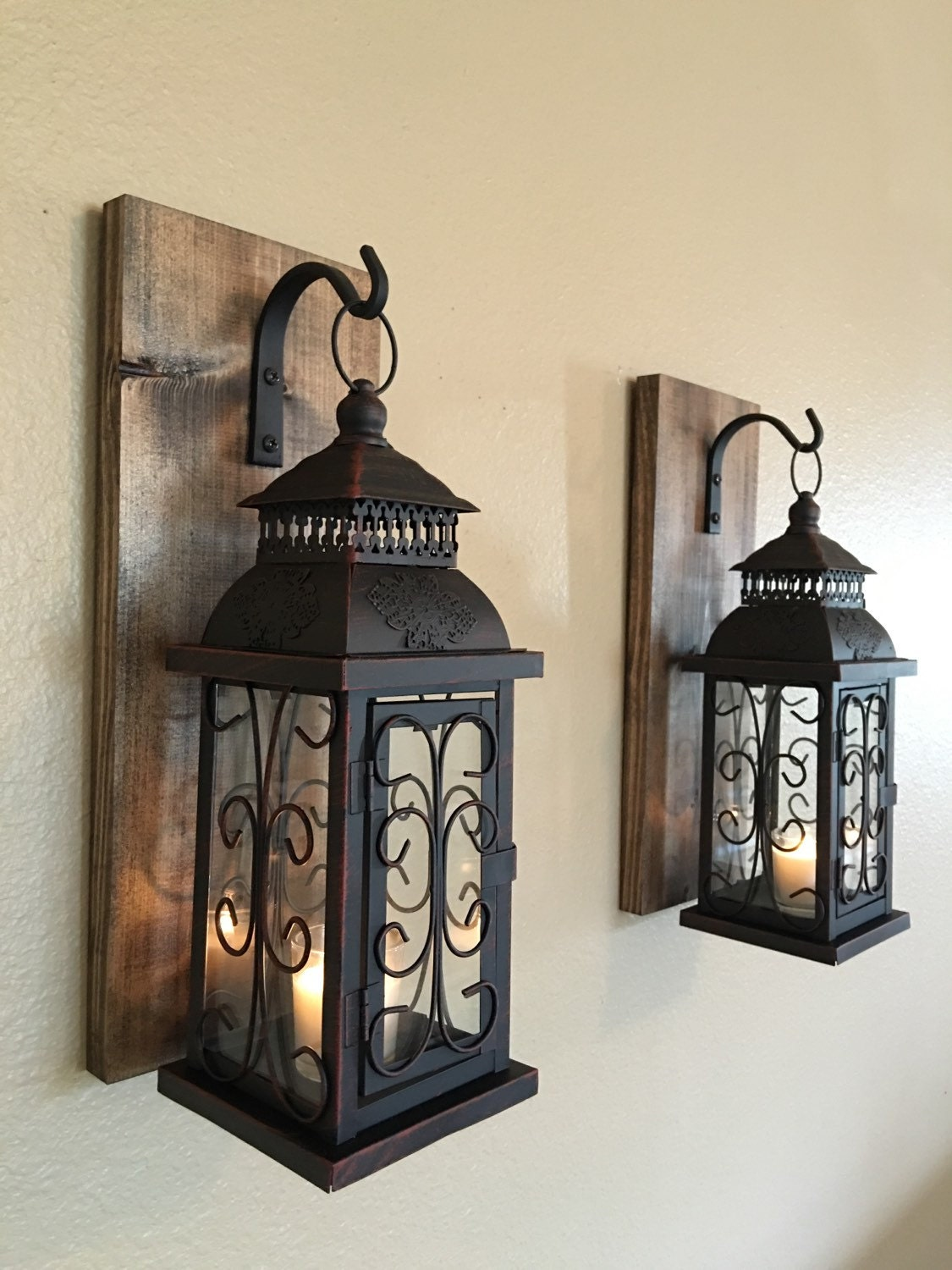 Lantern pair wall decor wall sconces bathroom decor home for Wood bathroom wall decor