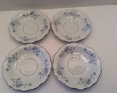 Johann Haviland Plates~ Blue Garland pattern~ Saucers or Small Plates~ Set of Four~ Silver trim~ Bavaria Germany