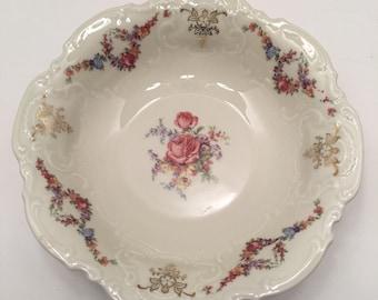 Vintage Schinding Bavaria Bowl ~ Pink Floral Serving Bowl~ Germany