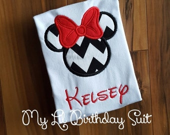 Minnie Mouse Chevron Shirt Disney Birthday
