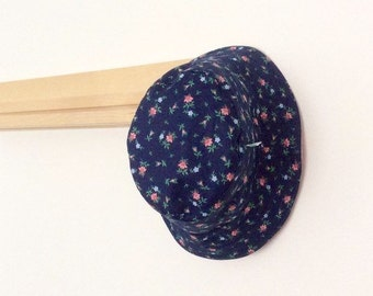 Navy Blue Floral Baby and Childrens Summer Bucket Hat