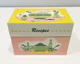 vintage Ohio Art Company recipe tin with inserts