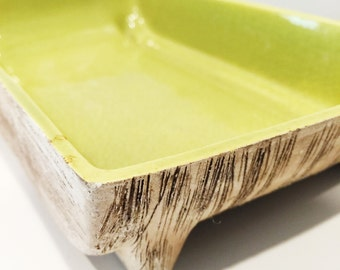 vintage chartreuse shallow dish