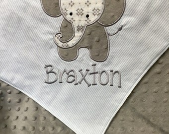 Elephant Baby Blanket Elephant Applique with Name, Personalized Baby Blanket, Elephant Blanket, Embroidered Baby Blanket, Minky Baby Blanket