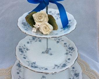 Wedding 3 Tier Cake Stand,Tiered Cupcake Tower,Tiered Serving Tray, Cupcake Tower,Johann Haviland Plate ,Blue Garland Plate,