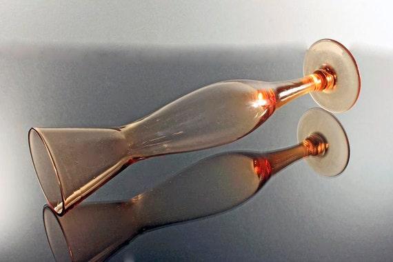 Orange Bud Vase, Hand Blown Glass, Pedestal Bud Vase, 10 Inch