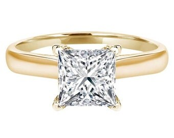 Simulated Princess Cut Solitaire Engagement Wedding Ring 3 CT 14k White Gold