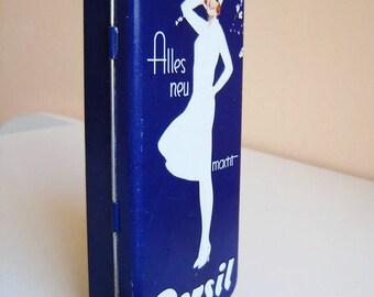 Retro style metal tin jewellery box blue,  Pin up girl