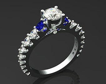 White Gold Diamond and Sapphire Engagement Ring