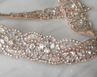 ROSIE Rose Gold Crystal Jewel On Ribbon Colour of Your Choice