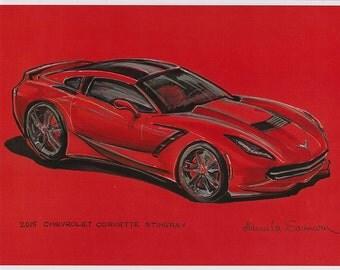 2015 Chevrolet Corvette Stingray Drawing Muscle Car Illustration Automotive Print Red Car Painting Man Cave Art