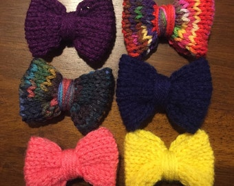 Knit hair bow barette