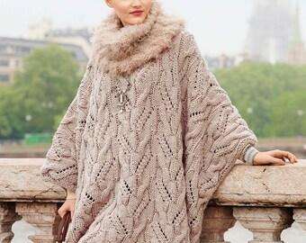 Poncho des femmes tricoté à la main deux aiguilles / custom
