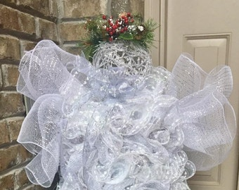 Christmas Angel - Christmas Mesh Angel - Deco Mesh Standing Angel - Christmas Angel Decor - Christmas Entryway Decor - Christmas Gift Idea