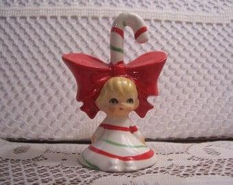 Lefton Little Girl Candy Cane Bell, Japan