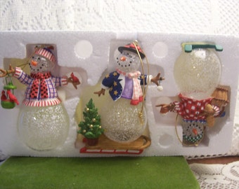 Three Princess House Snowman Ornaments