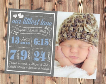 Baby Birth Announcement Card - Baby Boy Birth Announcement - Printable File - Add Photo