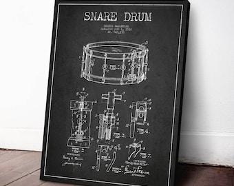 1910 Snare Drum Patent, Drum Print, Canvas Print, Wall Art, Home Decor, Gift Idea, MUIN50C