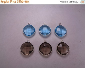 10% Off 16mm Cushion Charms, Blue Topaz and Smoky Quartz Bezel, Single Bail 1pc