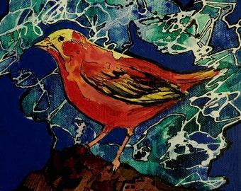 Bird #3, 8×10 Acrylic on Canvas