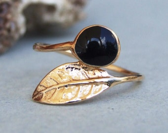 Gold Leaf Ring, Gold Black Stone Ring, Gold Ring, Yellow Gold Ring
