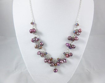 Purple Freshwater Pearl Necklace Handmade 18inch Silver Plated Necklace