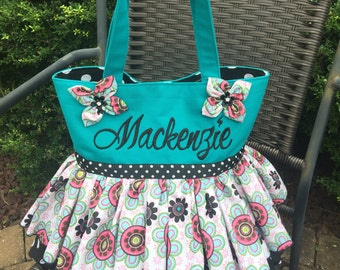 Large double ruffled tutu tote with kansashis and personalization 13x13