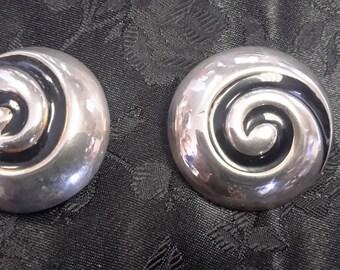 silver swirl deco clip earrings free shipping!!