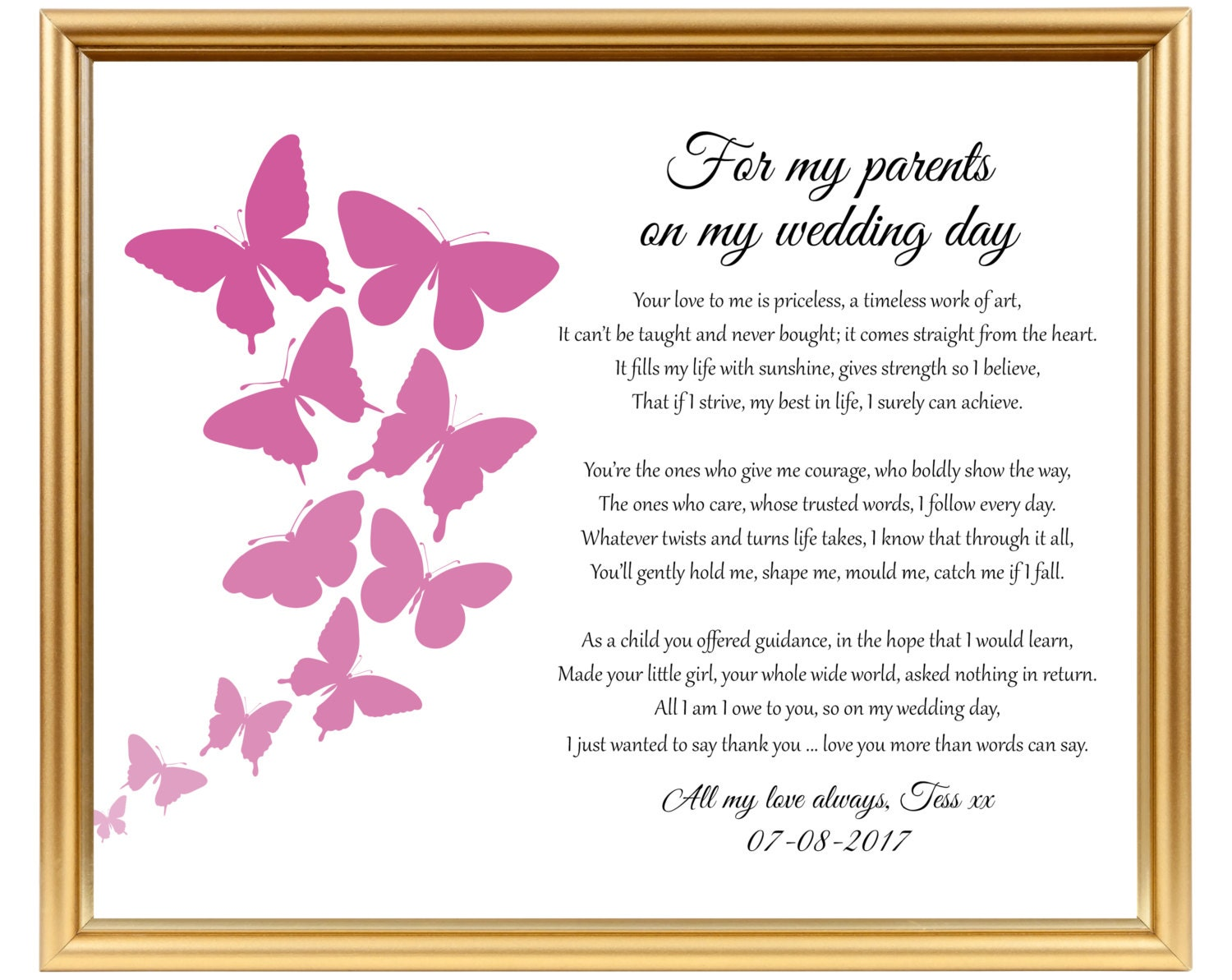 Thank You For Being My Sister Quotes: Wedding Thank You Gift Poem To My Parents To Mom Mum