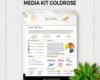 """Media Kit Template -""""GOLDROSE"""". Blog Media Kit. Marketing Material. Kit for blogger. Power Point Media Kit."""