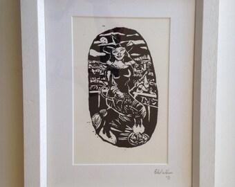 """Framed Lino print """" Witch"""". original art."""