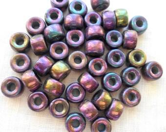 25 9mm Czech Purple Iris pony roller beads, large hole iridescent multicolored glass crow beads, C3525