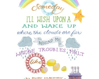 Over the Rainbow: Hand-Painted Watercolor Wizard of Oz Digital Download 2 Sizes