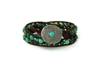 Southwestern Leather Wrap Bracelet Fine Silver Button Turquoise Leather Wrap Bracelet Genuine Turquoise