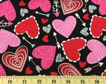 VALENTINES DAY Fabric By Yard, Half, Fat Quarter With Hearts & Arrows Arrow Pink Red White Black 100% Cotton Quilting Apparel Fabric t/v