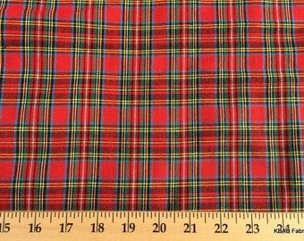 ROYAL STEWART Red TARTAN Fabric By the Yard , Half Yard Red Blue Green Yellow Black Scottish Plaid 100% Cotton Quilting Apparel Fabric  w6/1