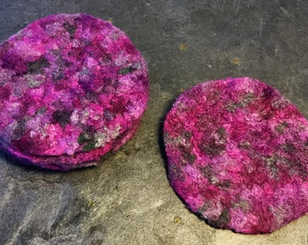 6 Hand Felted Wool Coasters