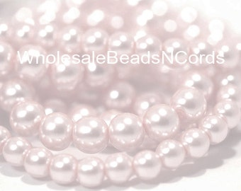 16 inch Strand 10mm VERY Light Pink PEARL Beads Round Light Pink Glass Pearl Beads - Wholesale Beads N Cords - Instant Ship Usa Seller 0073