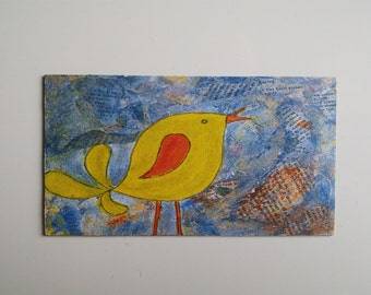 yellow bird fridge magnet