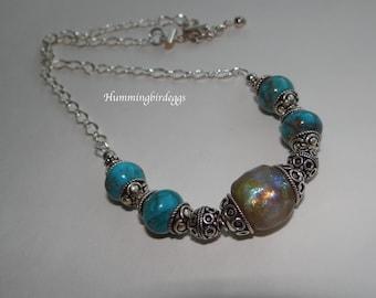 AA turquoise Basha bead silver necklace with Basha bead and Bali silver beads adjustable large basha focal bead high quality turquoise bead
