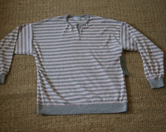Vintage 1980's - EccoBay Pink and grey striped shirt Medium - Long Sleeved with buttons