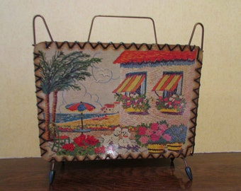 "1950s kitsch ""Bella Vista/Mary"" magazine rack, atomic styling"