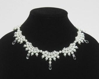 Bridal Necklace - pearls, crystals, wedding necklace, bride necklace