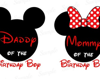 Mickey Mouse Iron On Tshirt shirt Transfer - Minnie Mouse Ears - Disney Inspired Printable - Daddy Dad Mommy Mom of the Birthday Boy