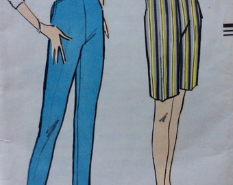 Vogue 9311 misses pants and shorts waist 24 hip 34 vintage 1950's sewing pattern  Uncut  Factory folds