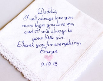 Father of The Bride Handkerchief -Hankie - Hanky -To Remember the DAY - Gift for Father of the Bride - Wedding gift