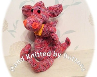 Hand Knitted Dragon, Multi Coloured Dragon, Dragon toy, soft toy, stuffed toy, plush toy, childrens toy, knitted toy, UK Seller